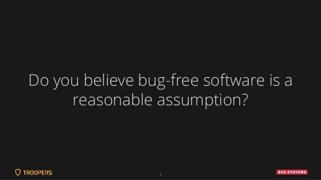 3 Do you believe bug-free software is a reasonable assumption?