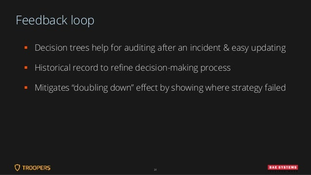 Feedback loop ▪ Decision trees help for auditing after an incident & easy updating ▪ Historical record to refine decision-...