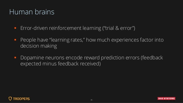 """Human brains ▪ Error-driven reinforcement learning (""""trial & error"""") ▪ People have """"learning rates,"""" how much experiences ..."""
