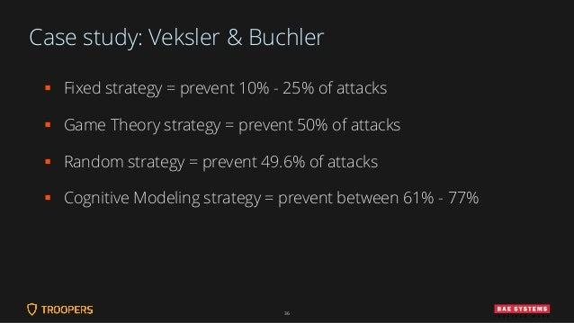 Case study: Veksler & Buchler ▪ Fixed strategy = prevent 10% - 25% of attacks ▪ Game Theory strategy = prevent 50% of atta...