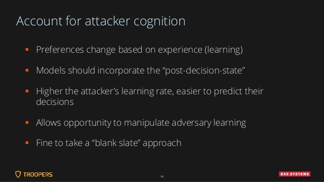 """Account for attacker cognition ▪ Preferences change based on experience (learning) ▪ Models should incorporate the """"post-d..."""