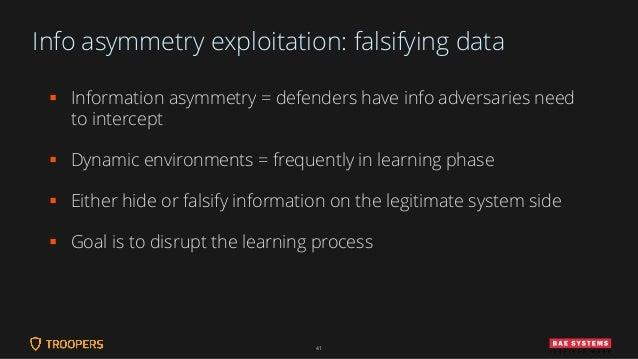 Info asymmetry exploitation: falsifying data ▪ Information asymmetry = defenders have info adversaries need to intercept ▪...