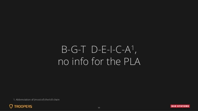50 B-G-T D-E-I-C-A1, no info for the PLA 1. Abbreviation of (most of) the kill chain