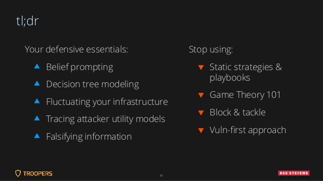 tl;dr Your defensive essentials:  Belief prompting  Decision tree modeling  Fluctuating your infrastructure  Tracing a...