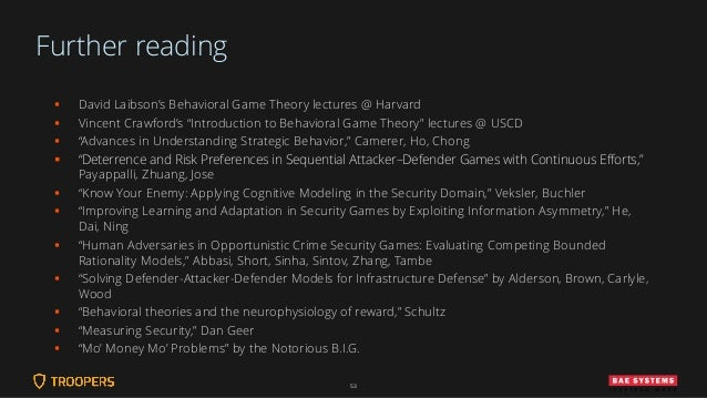 """Further reading ▪ David Laibson's Behavioral Game Theory lectures @ Harvard ▪ Vincent Crawford's """"Introduction to Behavior..."""