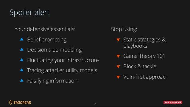 Spoiler alert Your defensive essentials:  Belief prompting  Decision tree modeling  Fluctuating your infrastructure  T...