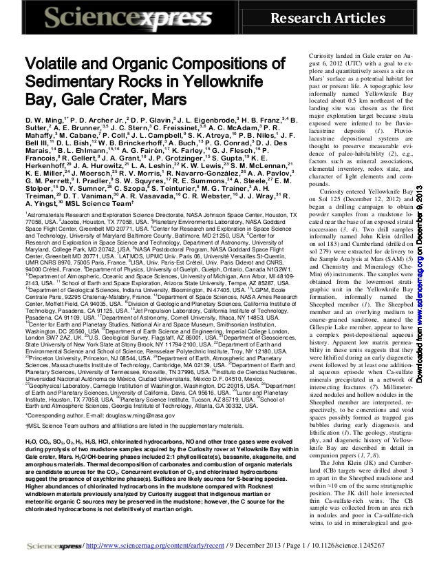 Volatile and Organic Compositions of Sedimentary Rocks in Yellowknife Bay, Gale Crater, Mars D. W. Ming,1* P. D. Archer Jr...
