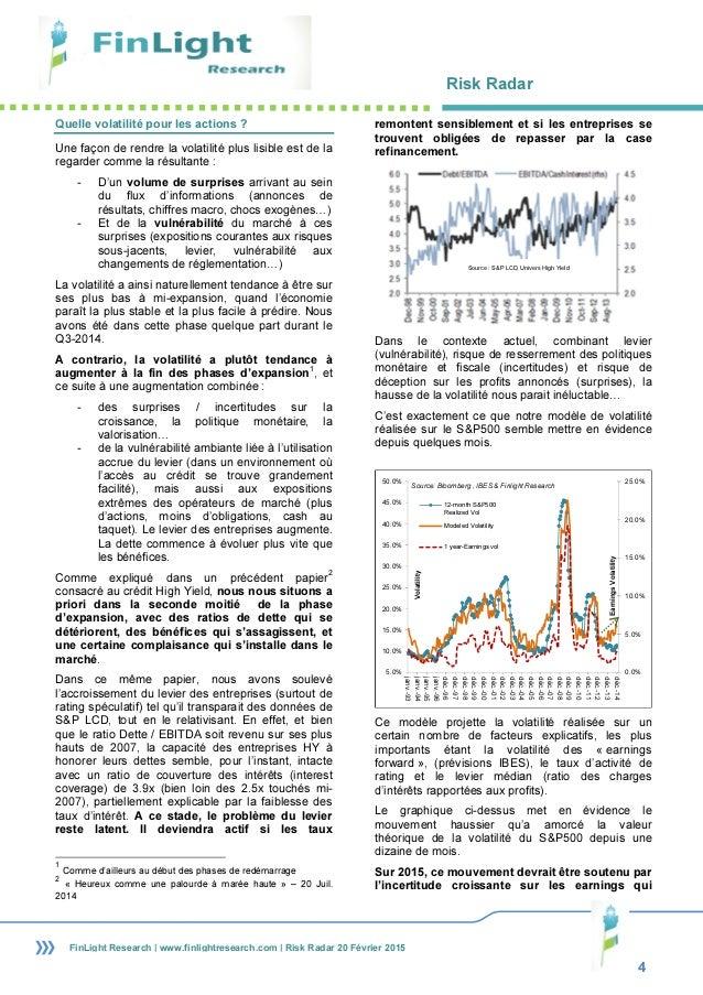 Risk Radar 4 FinLight Research | www.finlightresearch.com | Risk Radar 20 Février 2015 Quelle volatilité pour les actions ...