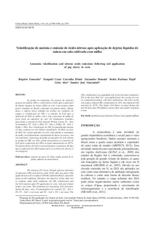 1590 Gonzatto et al. Ciência Rural, v.43, n.9, set, 2013. Volatilização de amônia e emissão de óxido nitroso após aplicaçã...