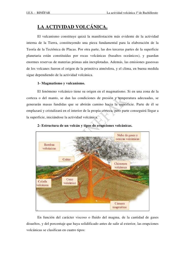 I.E.S. - BINÉFAR                                        La actividad volcánica 1º de Bachillerato       LA ACTIVIDAD VOLCÁ...