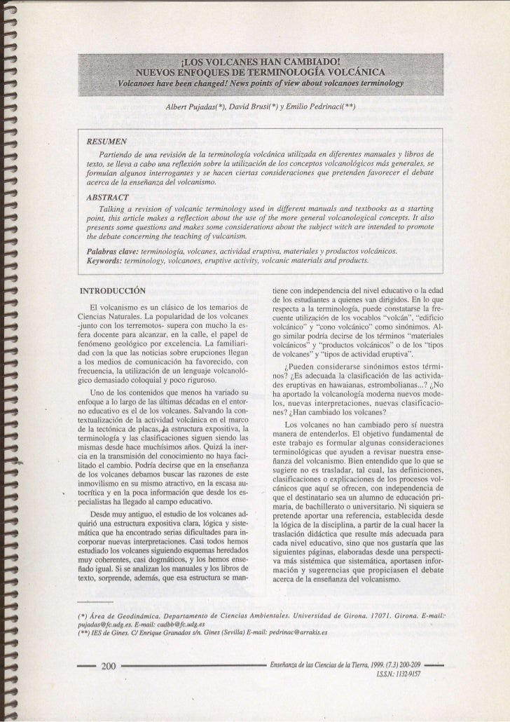 Albert Pujadas(*),David Brusi(*) y Emilio Pedrinaci(**)        RESUMEN          Partiendo de una revisión de Ia terminolog...