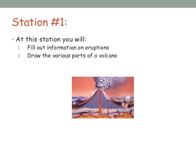 Station #1:• At this station you will:1. Fill out information on eruptions2. Draw the various parts of a volcano