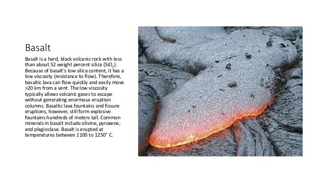 Basalt Silica Content Of : Volcano terms