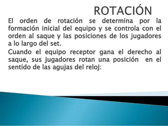 El orden de rotación se determina por la formación inicial del equipo y se controla con el orden al saque y las posiciones...