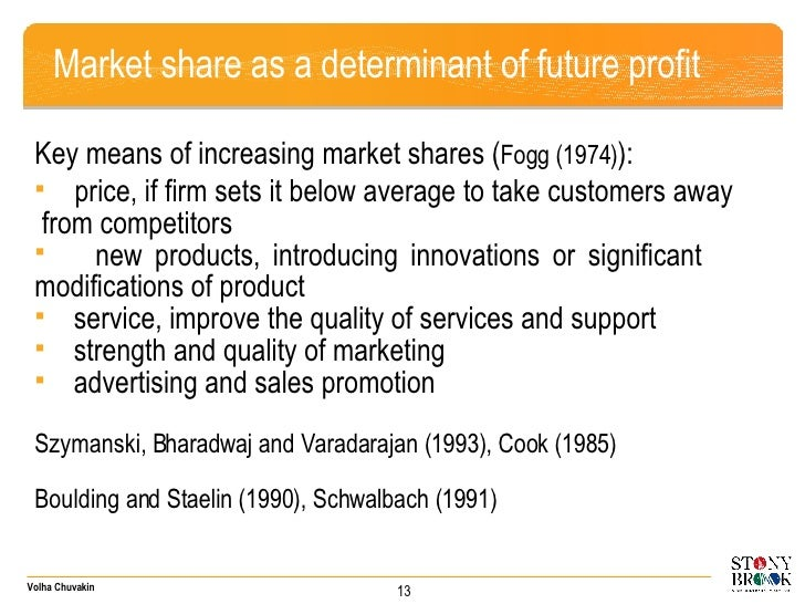 Market share as a determinant of future profit <ul><li>Key means of increasing market shares ( Fogg (1974) ):  </li></ul><...