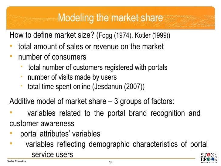 Modeling the market share <ul><li>How to define market size? ( Fogg (1974), Kotler (1999)) </li></ul><ul><li>total amount ...
