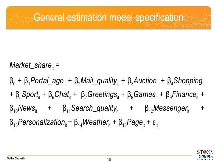 General estimation model specification <ul><li>Market_share it  =  </li></ul><ul><li>β 0  + β 1 Portal_age it  + β 2 Mail_...