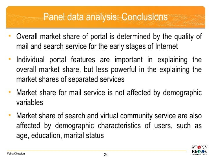 Panel data analysis: Conclusions <ul><ul><li>Overall market share of portal is determined by the quality of mail and searc...