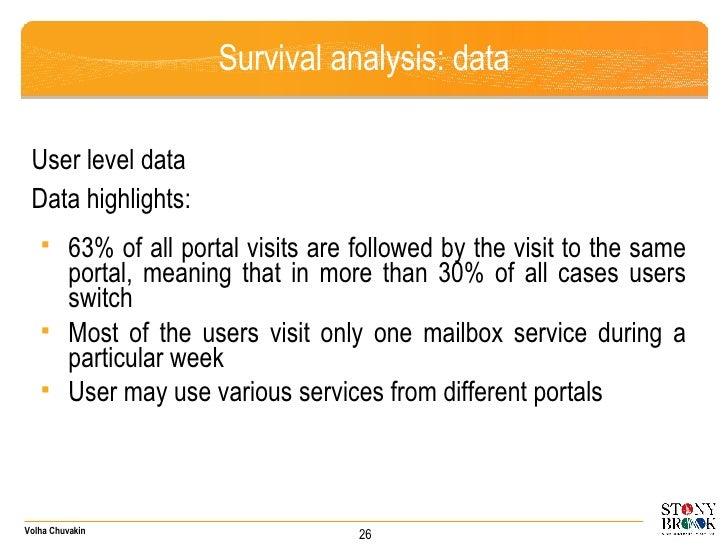 Survival analysis: data <ul><li>User level data </li></ul><ul><li>Data highlights: </li></ul><ul><ul><li>63% of all portal...