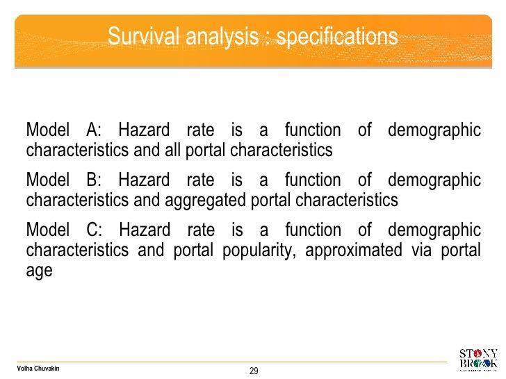 Survival analysis : specifications <ul><li>Model A: Hazard rate is a function of demographic characteristics and all porta...