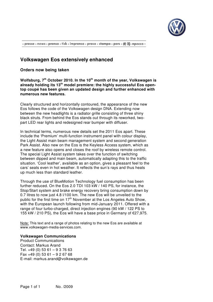 Volkswagen Eos extensively enhanced  Orders now being taken  Wolfsburg, 7th October 2010. In the 10th month of the year, V...