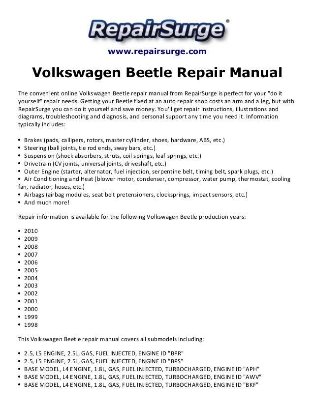 Volkswagen Beetle Repair Manual 1998 2010. Repairsurge Volkswagen Beetle Repair Manual The Convenient Online. Wiring. 2008 Beetle 2 5l Engine Diagram At Scoala.co