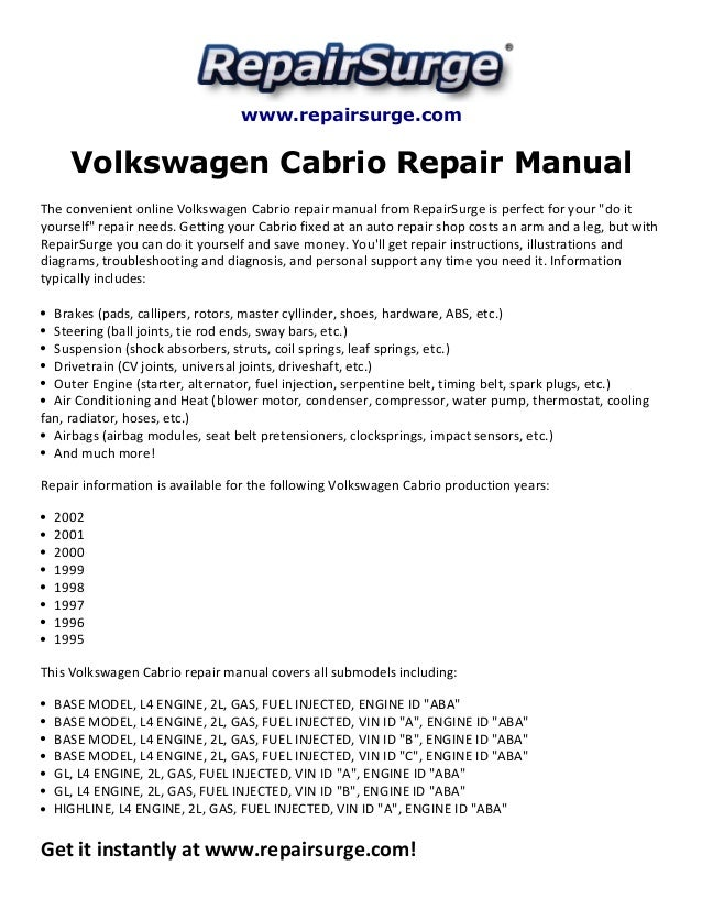 volkswagen cabrio repair manual 1995 2002 rh slideshare net VW Cabrio Parts 97 VW Cabrio Green