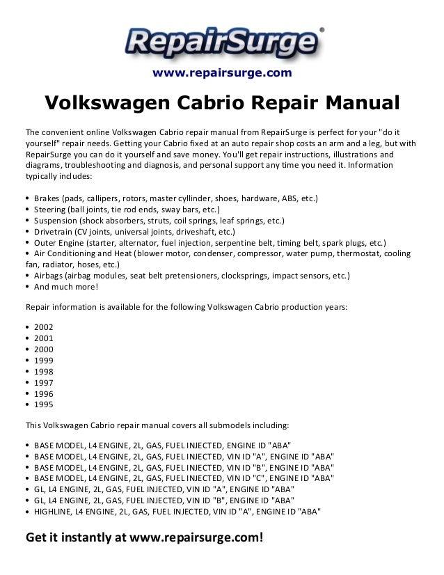 volkswagen cabrio repair manual 1995 2002 rh slideshare net 2000 Volkswagen Cabriolet Convertible 2002 Volkswagen Cabriolet