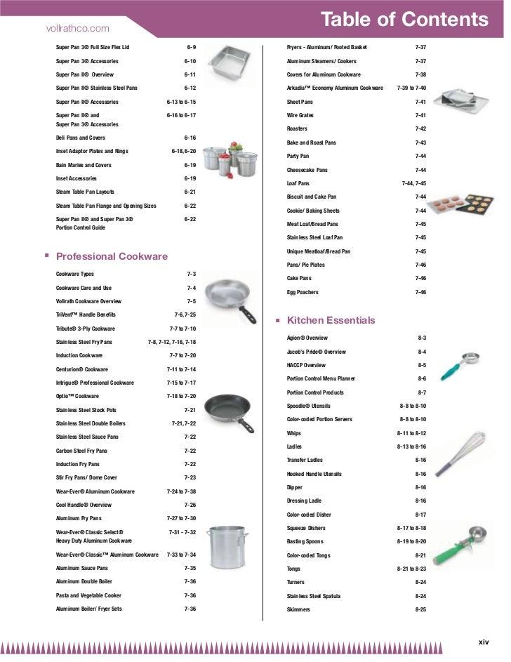 Vollrath Food Service Catalog
