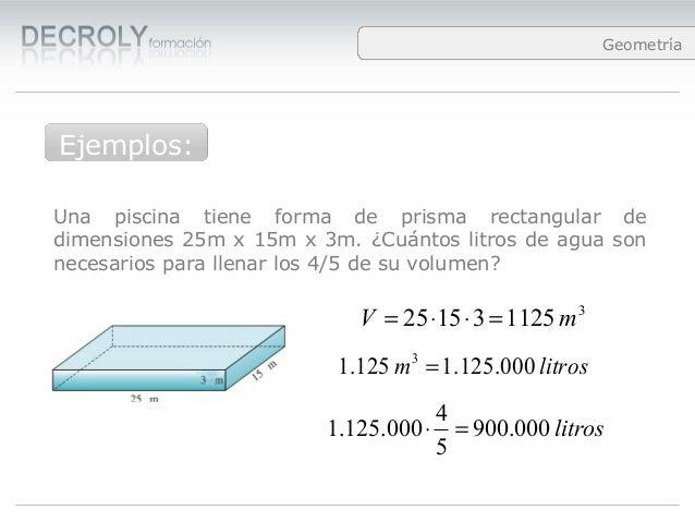 Vol menes for Cuantos litros de agua caben en una piscina