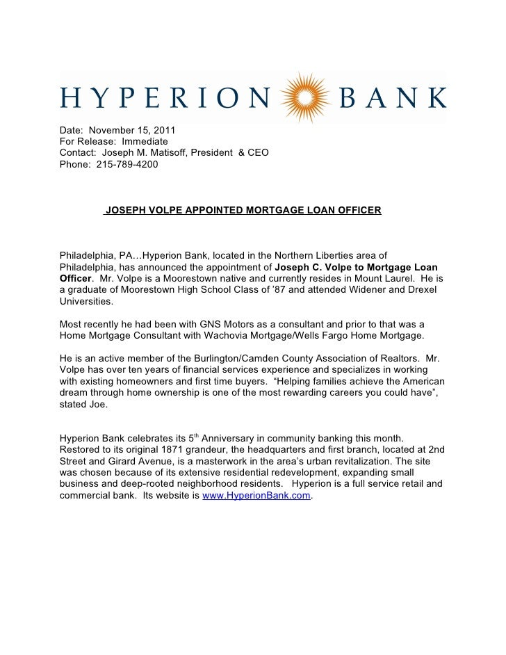 joseph c volpe appointed mortgage loan officer