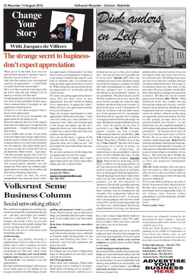 """Volksrust Recorder - Column / Rubrieke Dink anders en Leef anders Salomo laat ons aan 'n baie groot wysheid kou; """"Net soos..."""