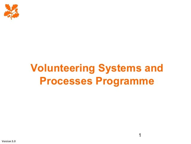 1 Volunteering Systems and Processes Programme Version 3.0