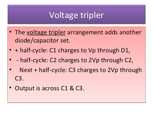 Voltage tripler • The voltage tripler arrangement adds another diode/capacitor set. • + half-cycle: C1 charges to Vp throu...