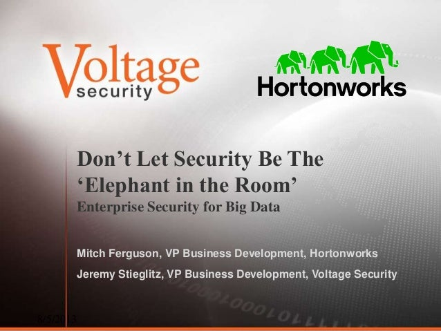 Don't Let Security Be The 'Elephant in the Room' Enterprise Security for Big Data Mitch Ferguson, VP Business Development,...