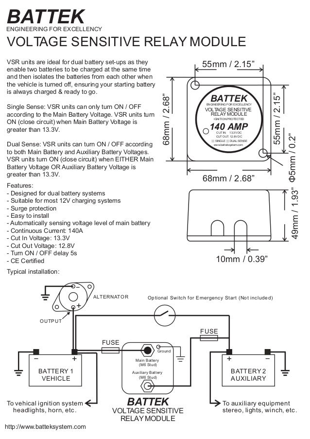Narva voltage sensitive relay wiring diagram