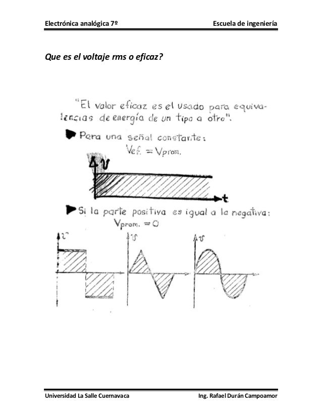 Electrónica analógica 7º  Escuela de ingeniería  Que es el voltaje rms o eficaz?  Universidad La Salle Cuernavaca  Ing. Ra...