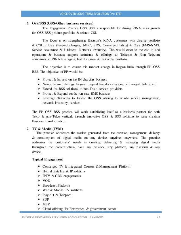 VOICE OVER LONG TERMEVOLUTION (Vo-LTE) SCHOOL OF ENGINEERING & TECHNOLOGY, ANSAL UNIVERSITY, GURGAON 34 6. OSS/BSS (OBS-Ot...