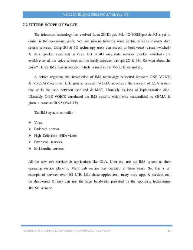 VOICE OVER LONG TERMEVOLUTION (Vo-LTE) SCHOOL OF ENGINEERING & TECHNOLOGY, ANSAL UNIVERSITY, GURGAON 83 7.2 FUTURE SCOPE O...