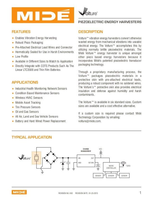PIEZOELECTRIC ENERGY HARVESTERS  FEATURES  DESCRIPTION  Enables Vibration Energy Harvesting Robust Piezo Packaging Pre-Att...