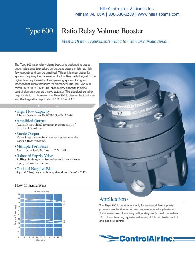 Type 600 Ratio Relay Volume Booster Meet high flow requirements with a low flow pneumatic signal. The Type-600 ratio relay...