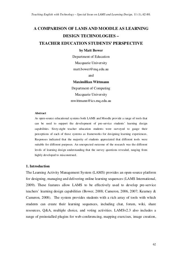 Teaching English with Technology – Special Issue on LAMS and Learning Design, 11 (1), 62-80.  A COMPARISON OF LAMS AND MOO...