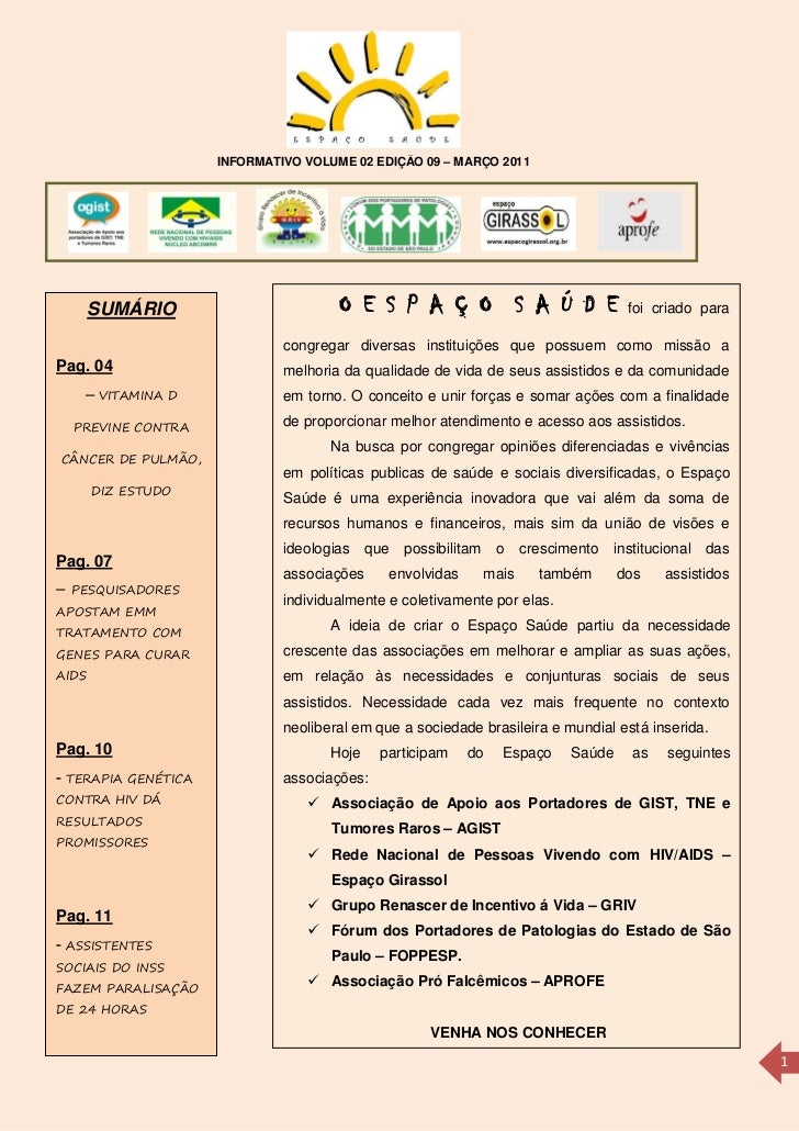 INFORMATIVO VOLUME 02 EDIÇÃO 09 – MARÇO 2011     SUMÁRIO                            O E S P A Ç O S A Ú D E               ...