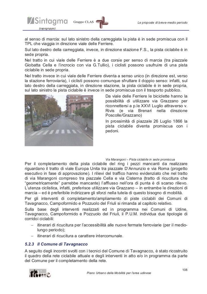 Le proposte di breve-medio periodo        (capogruppo)al senso di marcia: sul lato sinistro della carreggiata la pista è i...