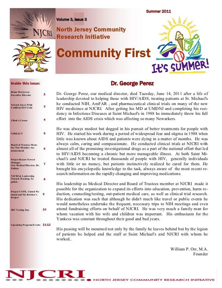 Summer 2011                                 Volume 3, Issue 3                                 North Jersey Community      ...