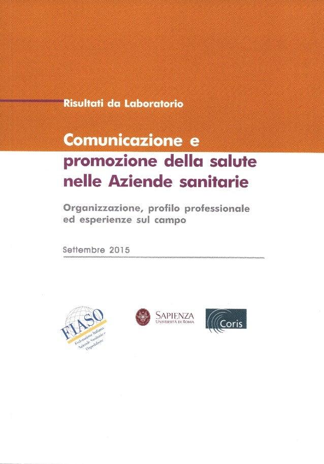 Comunicazione E Promozione Della Salute Nelle Aziende Sanitarie Org