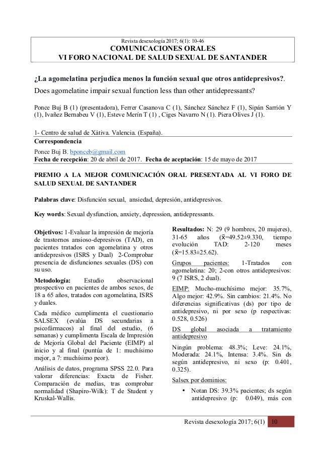 Revista desexología 2017; 6(1) 10  Revista desexología 2017; 6(1): 10-46 COMUNICACIONES ORALES VI FORO NACIONAL DE SALUD ...