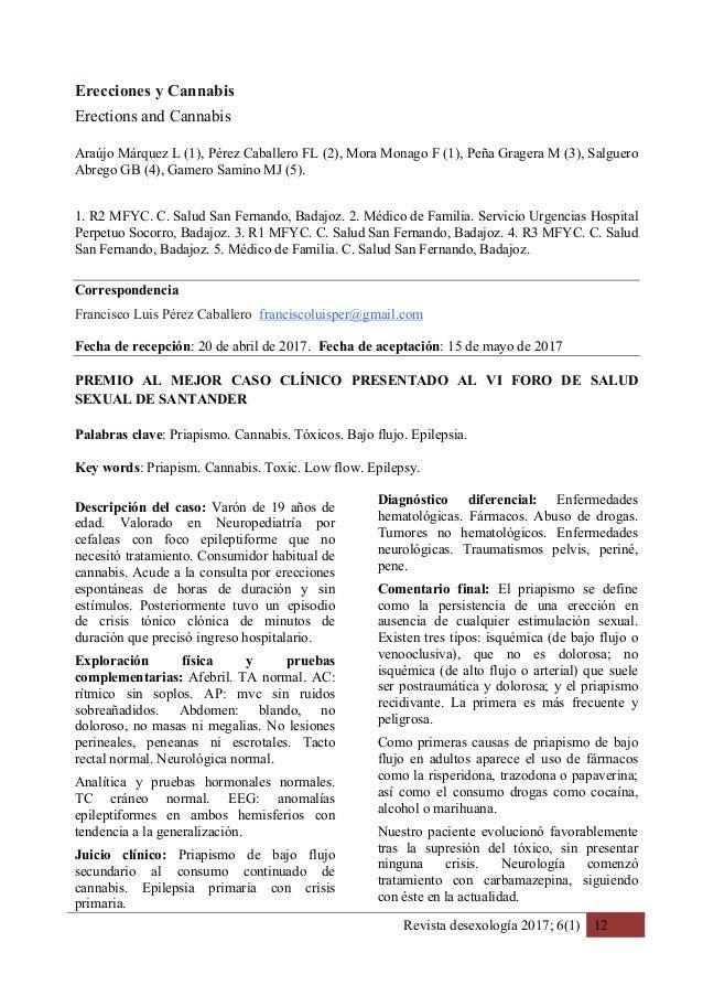 Revista desexología 2017; 6(1) 12 Erecciones y Cannabis Erections and Cannabis Araújo Márquez L (1), Pérez Caballero FL (2...