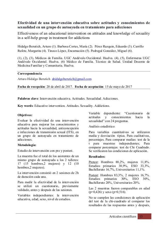 Artículos científicos 13 Efectividad de una intervención educativa sobre actitudes y conocimientos de sexualidad en un gru...