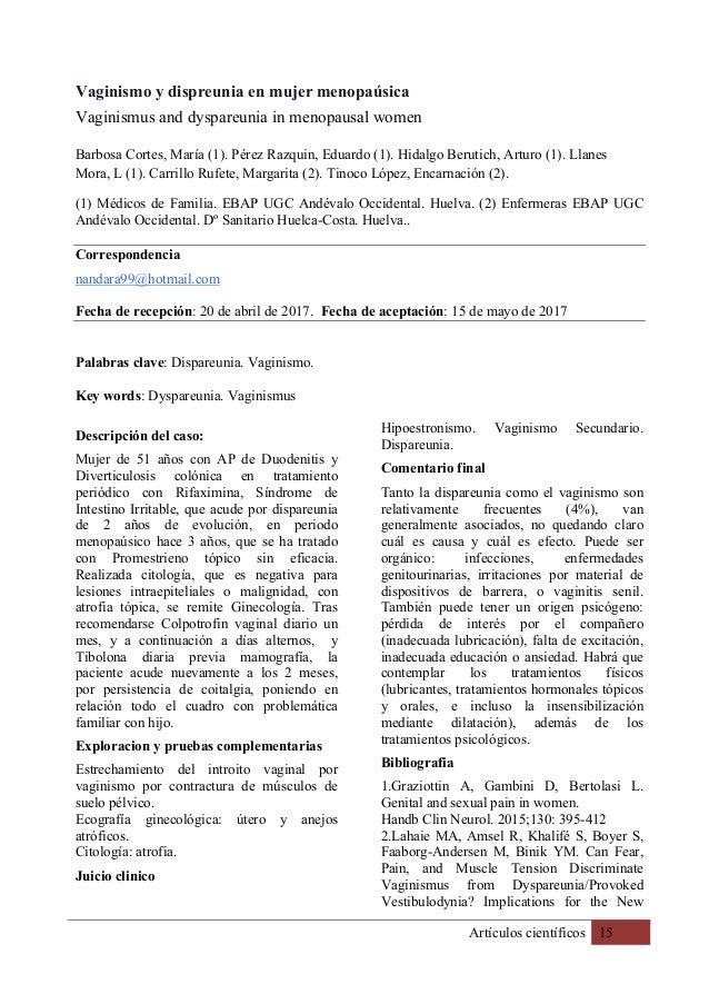 Artículos científicos 15 Vaginismo y dispreunia en mujer menopaúsica Vaginismus and dyspareunia in menopausal women Barbos...
